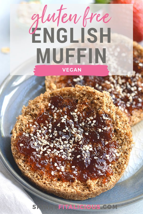 Gluten Free English Muffin! Made with 5 ingredients in the microwave. This breakfast bread doubles as sandwich bread and is a lighter and healthier way to enjoy bread! Low Calorie + Gluten Free + Vegan