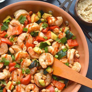 A healthy version of Chinese takeout, this Gluten Free Kung Pao Shrimp is healthy, soy free and dairy free. Sweet, spicy and ready in 20 minutes! Gluten Free + Low Calorie with Paleo option