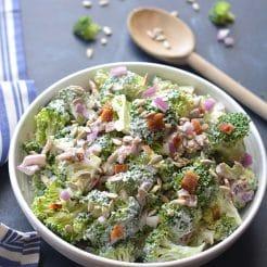 Low Carb Greek Yogurt Broccoli Salad {Low Carb, GF, Low Cal}