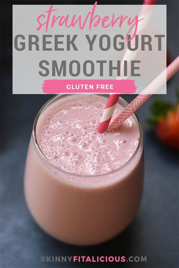 This Strawberry Greek Yogurt Smoothie is perfect for breakfast on the go. High protein with 3 ingredients and no added sugar. Rich in Vitamin C and antioxidants! Gluten Free + Low Calorie + Vegetarian