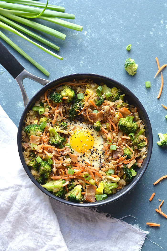 Low Carb Breakfast Cauliflower Fried Rice is an easy breakfast meal prep perfect for a healthy breakfast. Freezer friendly, easy to make and delicious! Vegetarian + GF + Low Carb + Paleo + Low Calories + Soy Free