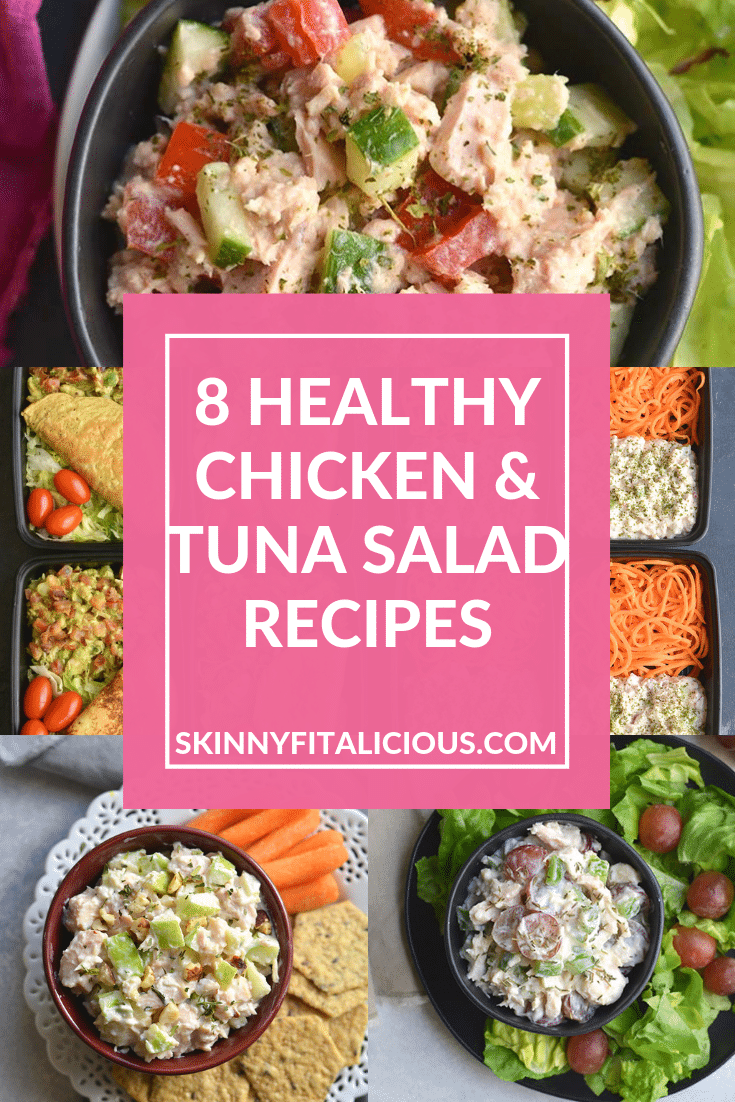 These 8 Healthy Chicken & Tuna Salad Recipes are delicious and take 10 minutes to prep for a healthy lunch. Made mayo free and higher protein to help you reach you're goals. These are my go to meals when life is too busy to cook.