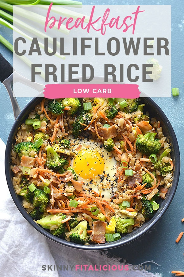 Low Carb Breakfast Cauliflower Fried Rice is an easy breakfast mealprep perfect for a healthy breakfast. Freezerfriendly,easy tomake anddelicious! Vegetarian + GF + Low Carb + Paleo + LowCalories + Soy Free