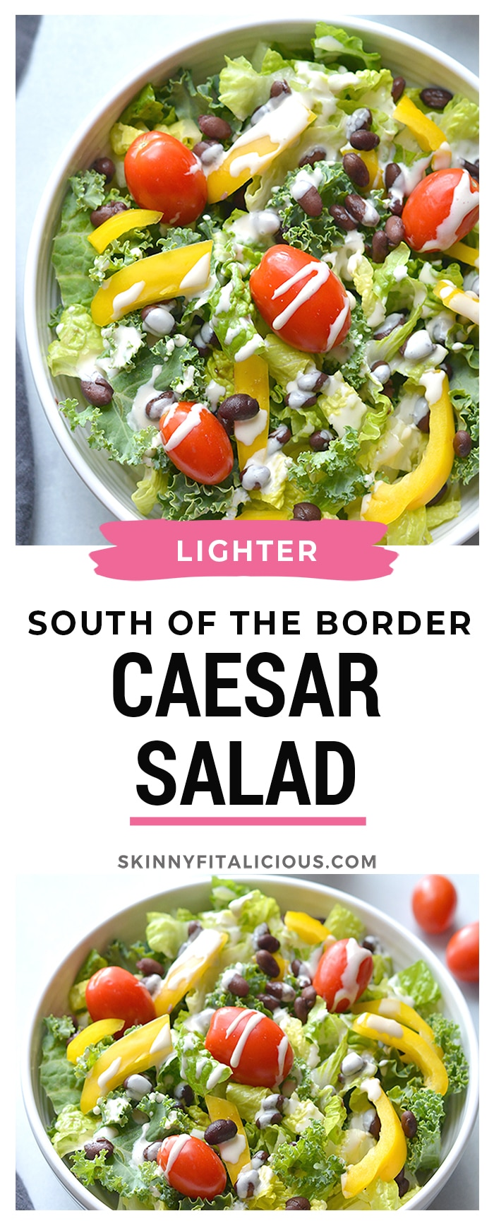 South Of The Border Caesar Salad! A classic salad made healthier with homemade Caesar dressing and a blend of kale and romaine lettuce. Topped with black beans and bell peppers for a Mexicanflare. Gluten Free + Low Calorie