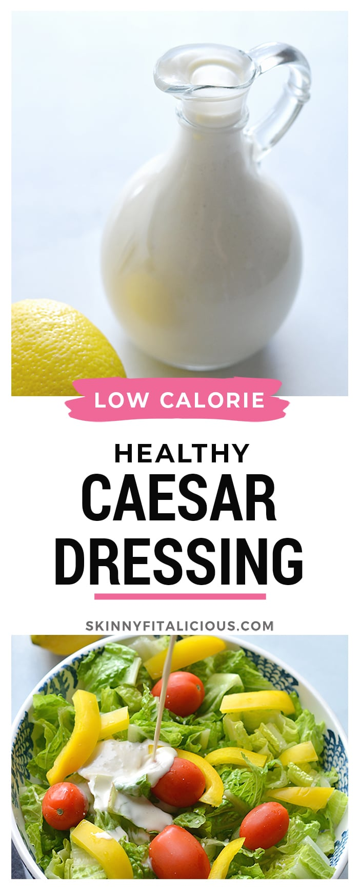Healthy Greek Yogurt Caesar Dressing! A classic Caesar dressing that's made lighter, gluten free and higher in protein to dress your salads!