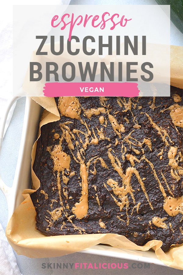 Creamy Zucchini Chocolate Espresso Brownies with an almond butter swirl! Made with almond butter, chocolate, espresso and oats, these brownies are gluten free, vegan and low calorie. Luscious chocolate-y brownies that make healthy eating easy! Gluten Free + Low Calorie + Vegan