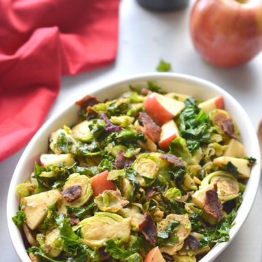 Whole30 Balsamic Bacon Apple Brussels Sprouts! A warm skillet salad that combines salty and tart flavors. Great for a quick appetizer or dinner side. Whole30 + Paleo + Gluten Free + Low Calorie