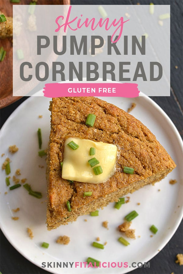 Almond Flour Pumpkin Cornbread! Almond Flour Pumpkin Cornbread! Gluten free and dairy free cornbread made refined sugar free and lower in calories. The perfect cornbread for the holidays! Gluten Free + Low Calorie