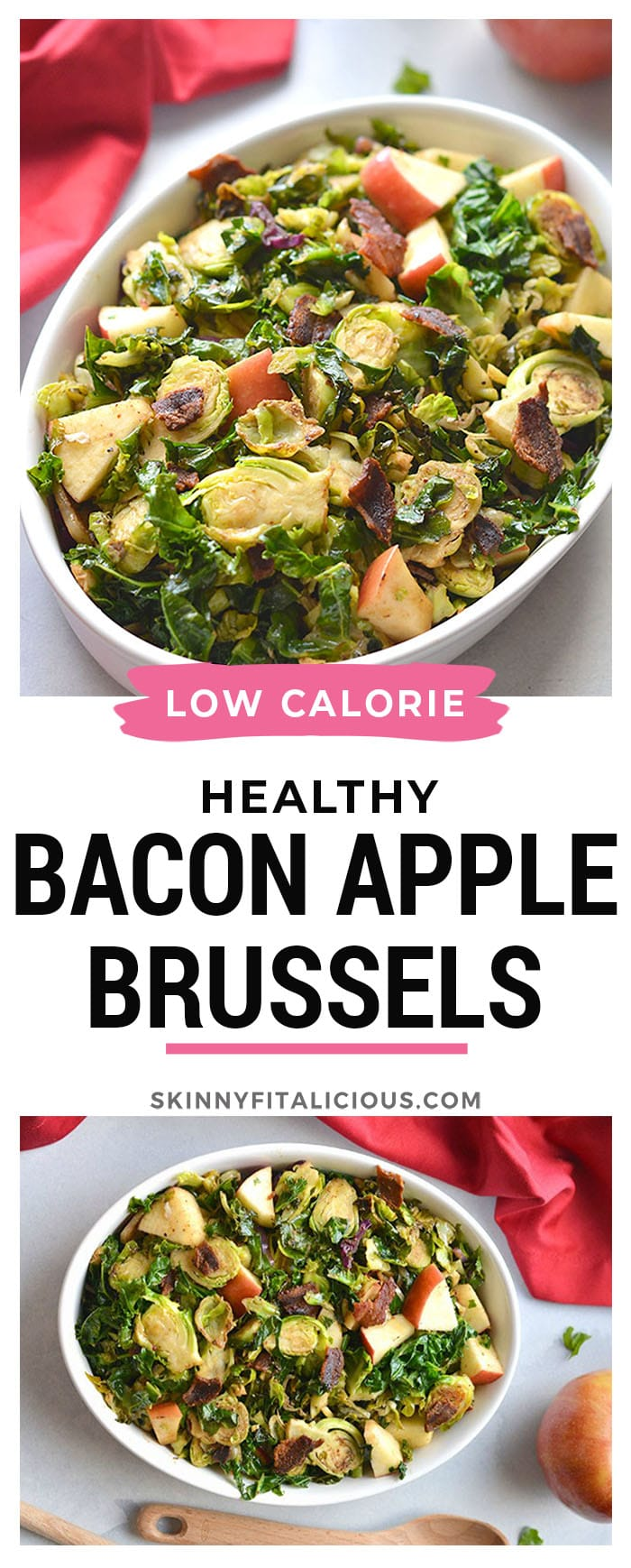 Balsamic Bacon Apple Brussels Sprouts! A warm skillet salad that combines salty and tart flavors. Great for a quick appetizer or dinner side.