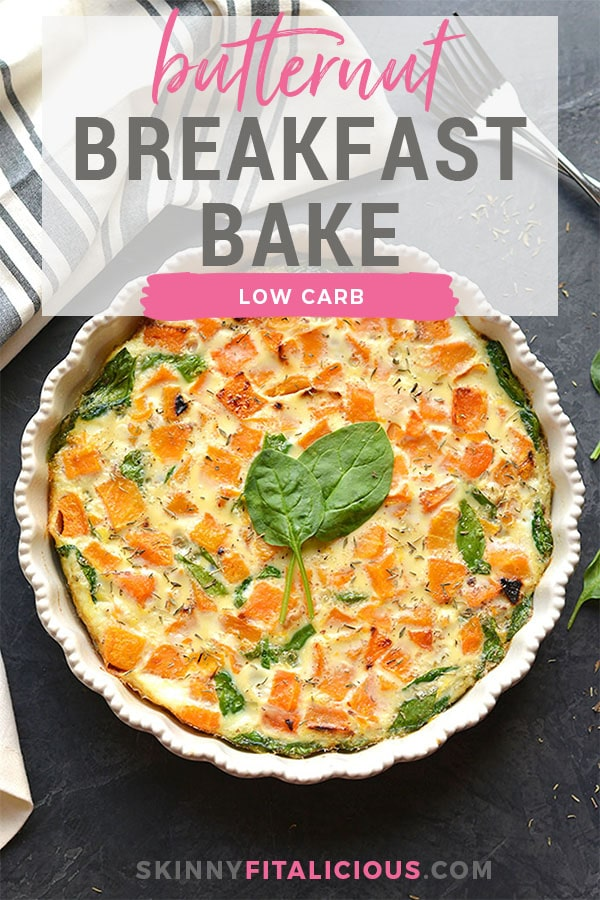 This Butternut Squash Spinach Breakfast Bake is loaded with healthy ingredients and flavors. A deliciously warm way to start a cool morning. If you like pizza, you will love this crustless egg frittata! Low Carb + Paleo + Gluten Free + Low Calorie