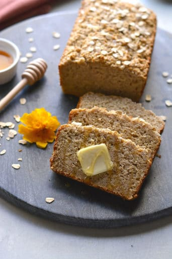 Savory Honey Oat Bread made gluten free with simple ingredients and lightly sweetened with honey. A delicious gluten free bread made in one bowl. Gluten Free + Low Calorie