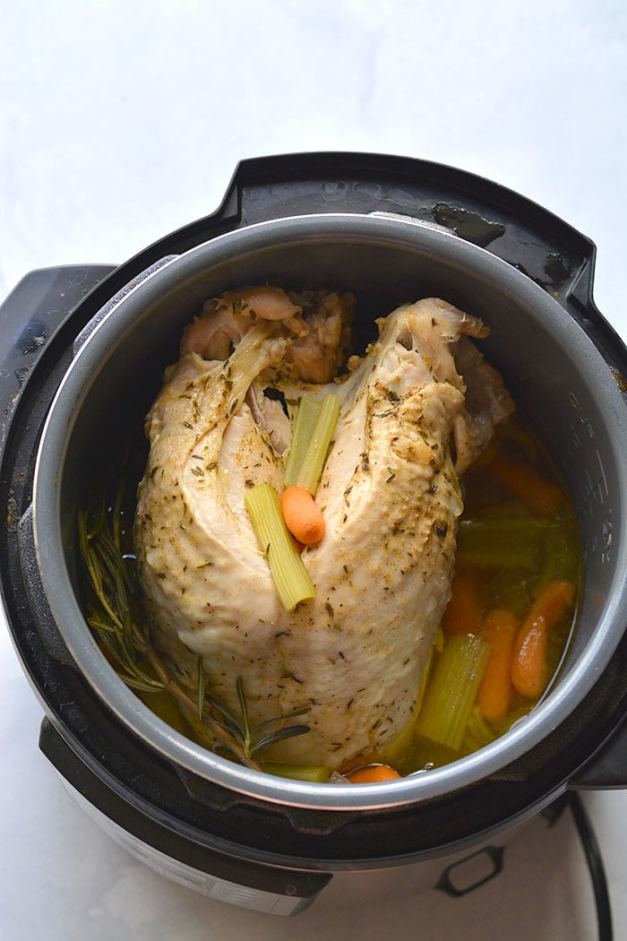 Instant Pot Turkey Breast! Make a delicious turkey breast in your instant pot in under 35 minutes. This easy method makes a super moist and tender turkey.