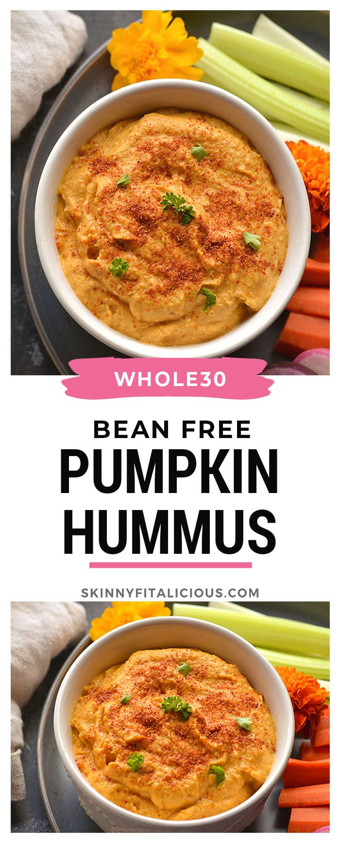 """Whole30 No Bean Pumpkin Hummus!This thick and creamy """"hummus"""" is made with zucchini and pumpkin instead of chickpeas. Adelicious, low calorie dip, dressing, sauce or marinade! Gluten Free + Vegan + Paleo + Low Calorie + Whole30"""