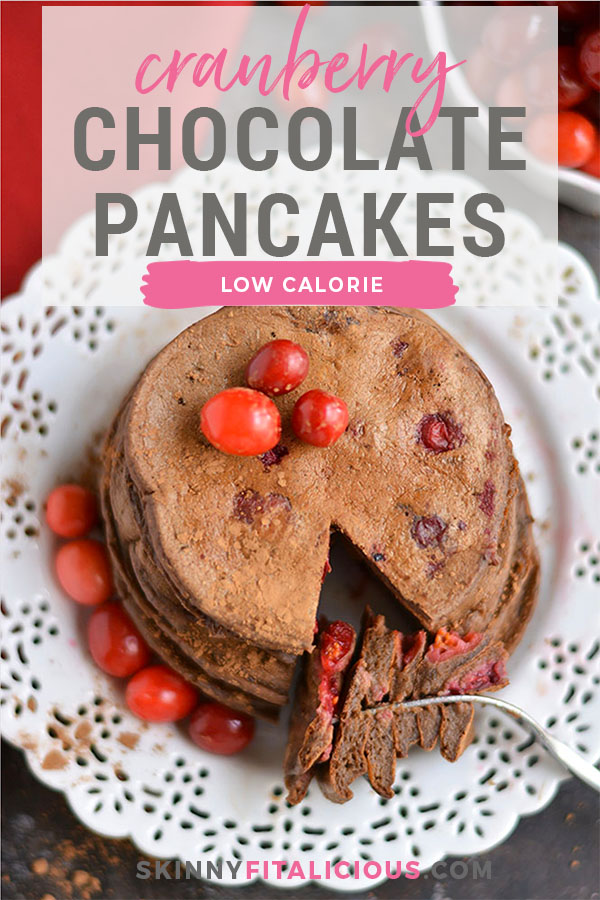Cranberry Cocoa Pancakes! These pancakes taste like hot cocoa without the calories! High in antioxidants and packed with protein, these crepe-like pancakes are bursting with natural sweetness. A breakfast crowd pleaser for pancake lovers! Gluten Free + Low Calorie