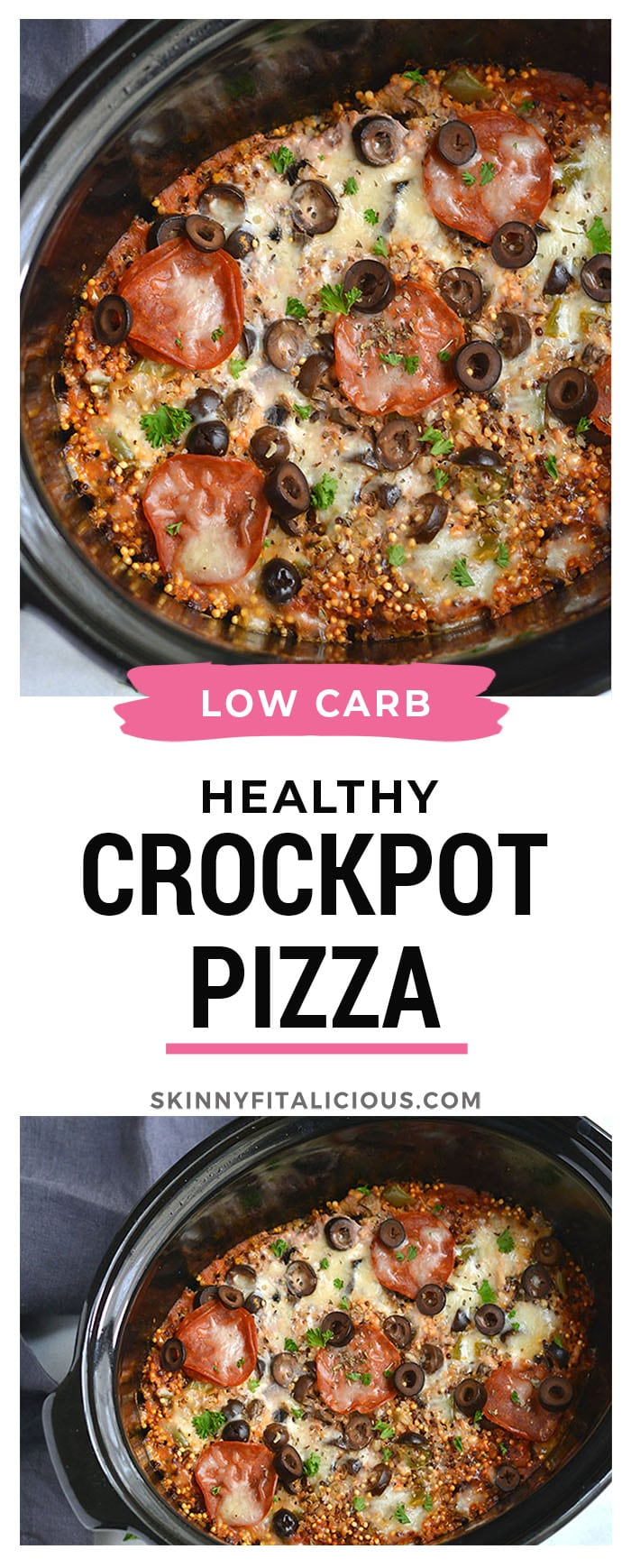 Crockpot Pizza Quinoa! This easy and healthy slow cooker meal is a lighter version of pizza with healthier ingredients. Nourishing, tasty and customizable. Gluten Free + Low Calorie