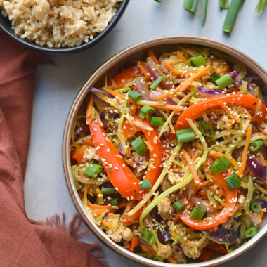 Healthy Egg Roll In A Bowl is an easy, gluten free and low calorie recipe that's made sugar free without a deep fried wrapper. A healthy weeknight dinner! Gluten Free + Low Calorie