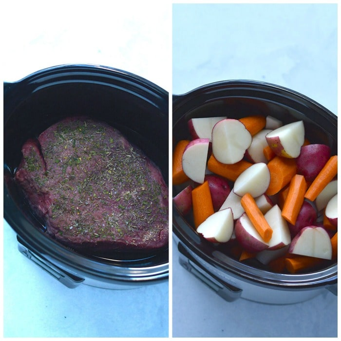 Healthy Crockpot Pot Roast! The BEST slow cooked pot roast you will ever eat. Perfectly tender, juicy and delicious! Served with carrots and potatoes for an easy meal. Gluten Free + Low Calorie