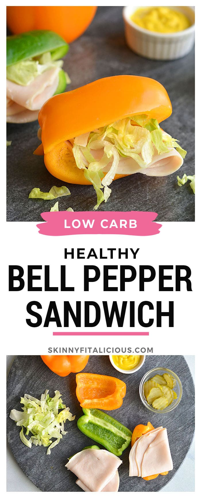 Low Carb Bell Pepper Sandwich! Swap the sandwich bread for sliced bell pepper. Add your toppings for an easy, low calorie lunch or snack. Low Carb + Gluten Free + Low Calorie + Paleo