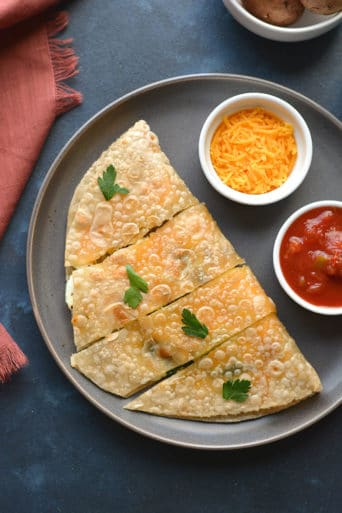 Healthy Breakfast Quesadilla made with egg whites, cheese and spinach. An easy breakfast that's filling, delicious and low calorie!