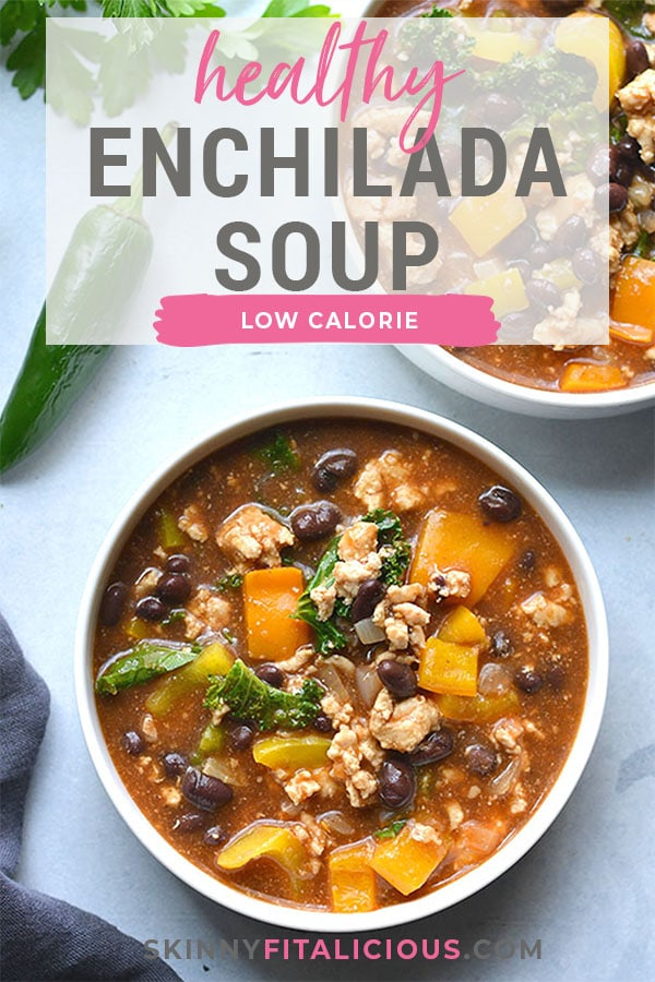 This hearty Turkey Kale Enchilada Soup is packed with flavor, nutrient rich foods and tons of flavor. A low calorie meal that comes together in 30 minutes! Gluten Free + Low Calorie