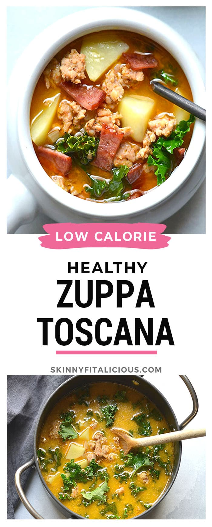 Skinny Zuppa Toscana! This lightened up twist is made with lightened up ingredients and insanely delicious! Creamy, savory and well balanced for a yummy winter meal.
