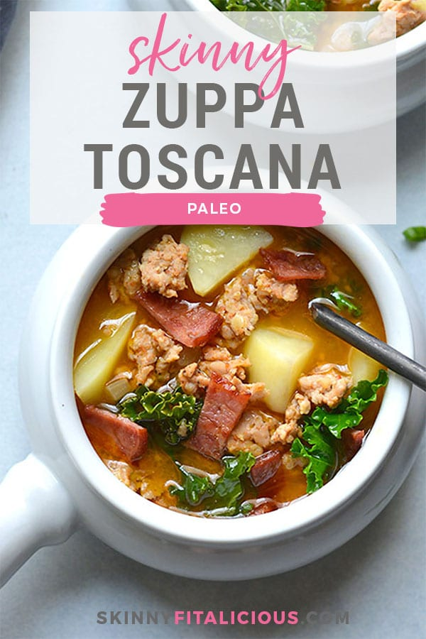 Skinny Zuppa Toscana! This lightened up twist is made with lightened up ingredients and insanely delicious! Creamy, savory and well balanced for a yummy winter meal. Gluten Free + Low Calorie + Paleo