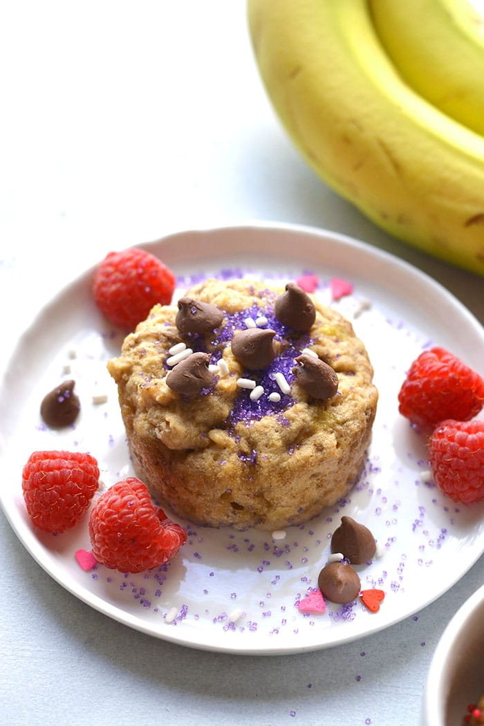 This Healthy Banana Mug Cake is perfect for a single serve, low calorie dessert or snack. Made flourless, gluten free and low sugar in the microwave. Gluten Free + Low Calorie