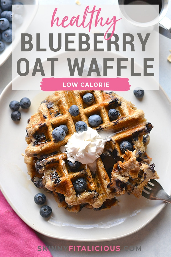 Healthy Blueberry Oat Waffles are low calorie made with gluten free oats and sugar free. Naturally gluten free and an easy meal prep healthy breakfast! Low Calorie + Gluten Free