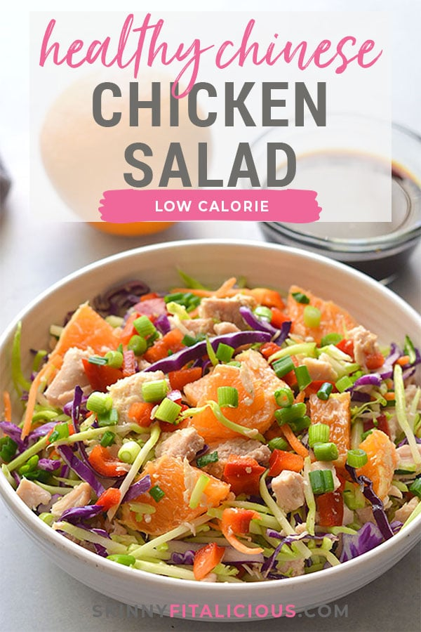 Healthy Chinese Chicken Salad is a simple nutritious meal bursting with sweet and sour flavors! Filling, naturally low calorie with no cooking required. Serve for lunch or a side salad. Low Calorie + Gluten Free + Paleo
