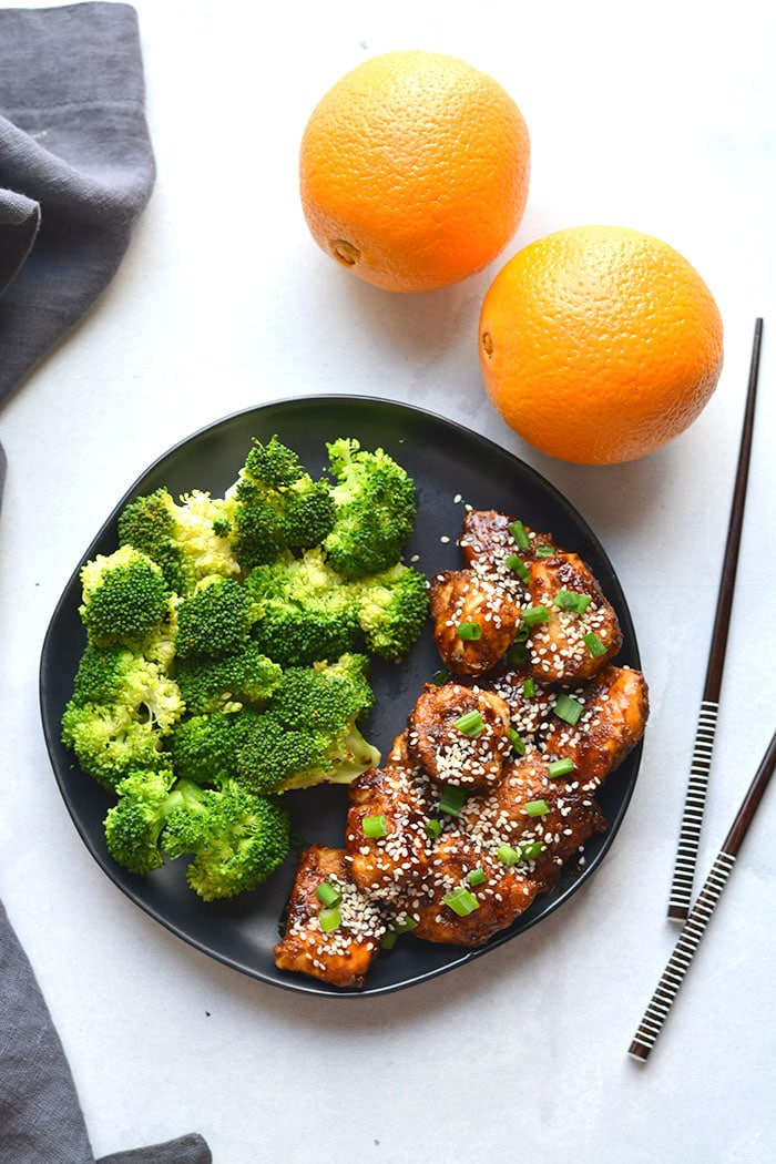 Healthy Orange Chicken is a simple, low calorie version of your favorite takeout meal. This lighter meal is made with real food and gluten free.
