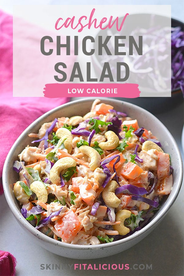 Healthy Cashew Chicken Salad made low calorie with Greek yogurt, Asian flavors, bell peppers and cabbage. A healthy recipe that is mayo free and egg free. A great make ahead lunch to meal prep! Gluten Free + Low Calorie + Low Carb
