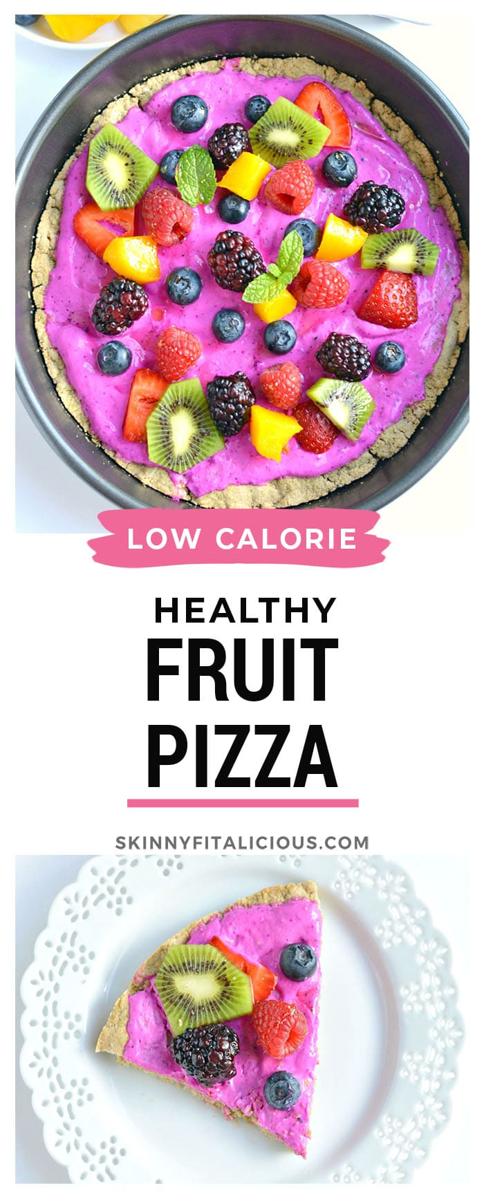 Healthy Fruit Pizza made with a simple oat crust and topped with a Greek yogurt topping and berries. A delicious low calorie summer dessert! Low Calorie + Gluten Free