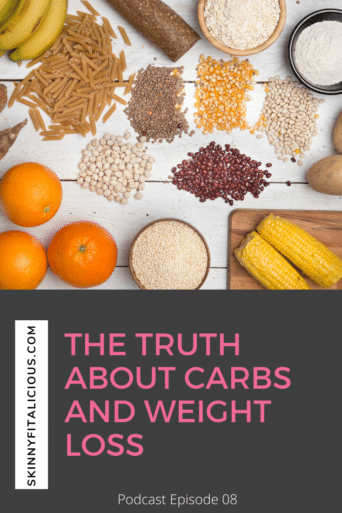 This Dish on Diets Podcast episode explains the surprising truth about carbs and weight loss for women. Get the science behind carbs and fat loss.