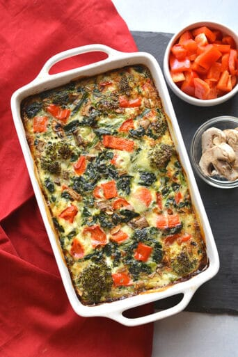 This High Protein Veggie Egg Bake is loaded with veggies and protein for a healthy breakfast. Great option for meal prepping or a weekend brunch!