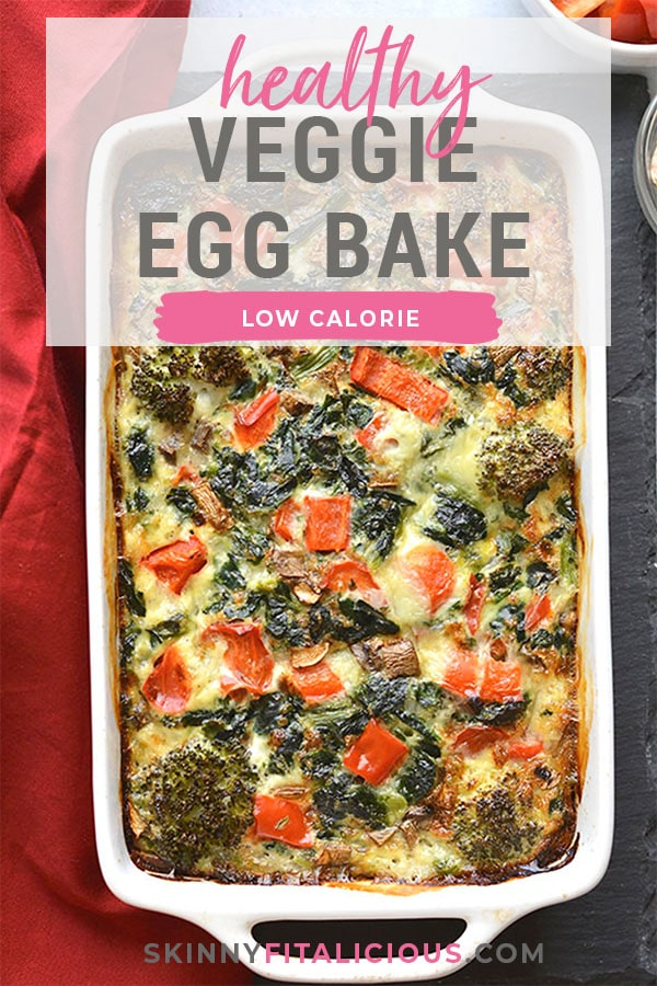 This High Protein Veggie Egg Bake is loaded with veggies and protein for a healthy breakfast. Great option for meal prepping or a weekend brunch! Low Calorie + Low Carb + Gluten Free