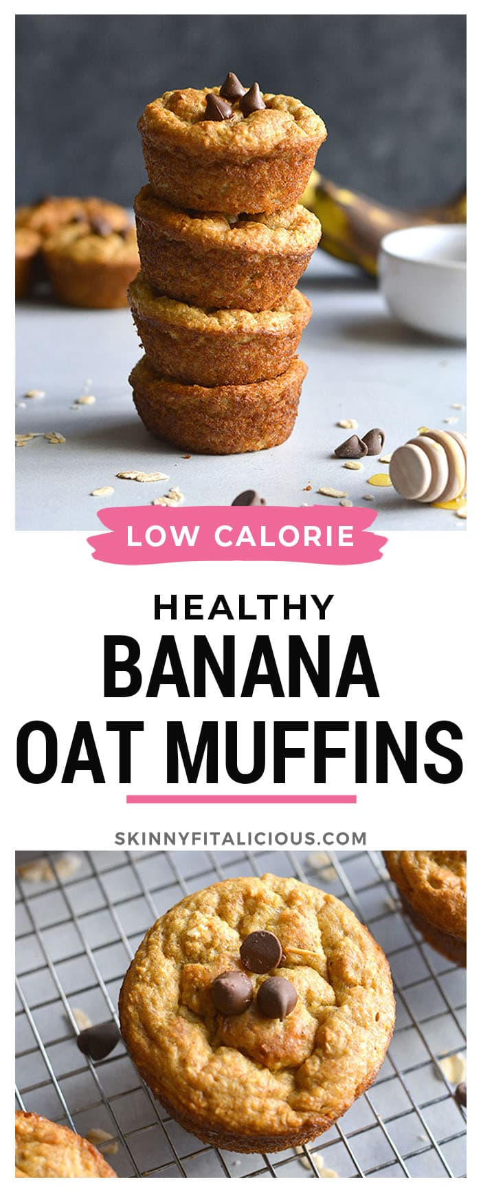 Low Calorie Banana Oat Muffins are made with no flour or oil and no added sugar. A healthy muffin made in a blender, moist and delicious! Low Calorie + Gluten Free