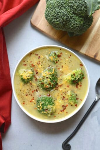 Healthy Broccoli Cheddar Soup is low calorie and made in 30 minutes with minimal ingredients. A great vegetarian soup that's also gluten free and can easily be made dairy free. Gluten Free + Low Calorie