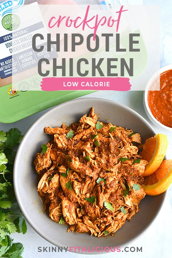 Healthy Crockpot Chipotle Chicken! This easy shredded chicken recipe made in a slow cooker is perfect for meal prep. Toss over a salad, on tacos, a sandwich or in a bowl with veggies. Low Carb + Low Calorie + Gluten Free
