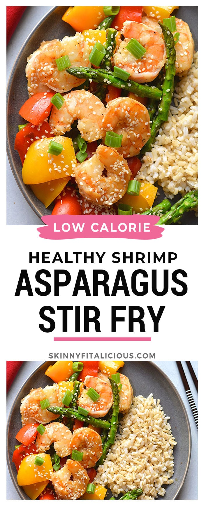 Healthy Shrimp Asparagus Stir Fry is a low calorie dinner recipe that's healthy, flavorful and easy to make. Made in under 30 minutes and gluten free! Low Calorie + Gluten Free