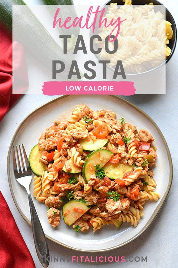 Healthy Taco Pasta is a low calorie dinner made with chickpea pasta, chicken, vegetables and salsa. High in protein and fiber, this family approved meal is healthy and easy to make!