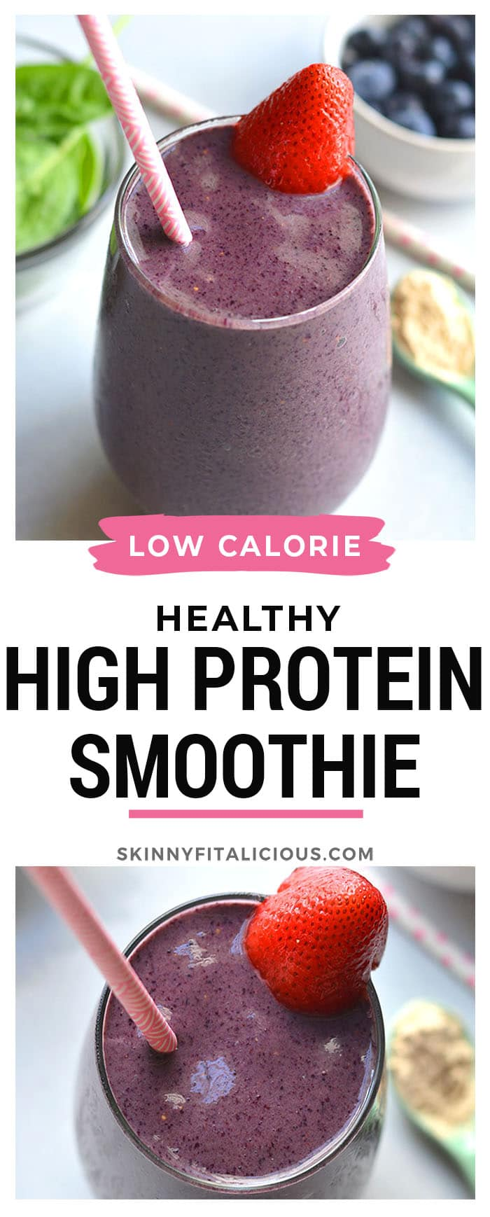 Healthy High Protein Smoothie for weight loss will keep you full and prevent cravings so you can reach your weight loss goals. Made with protein, vegetables and fruit, this easy recipe is great for breakfast or a snack. Low Calorie + Gluten Free + Paleo + Vegan