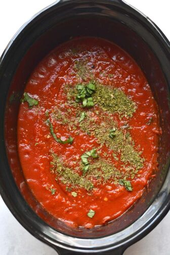 tomato sauce in a slow cooker