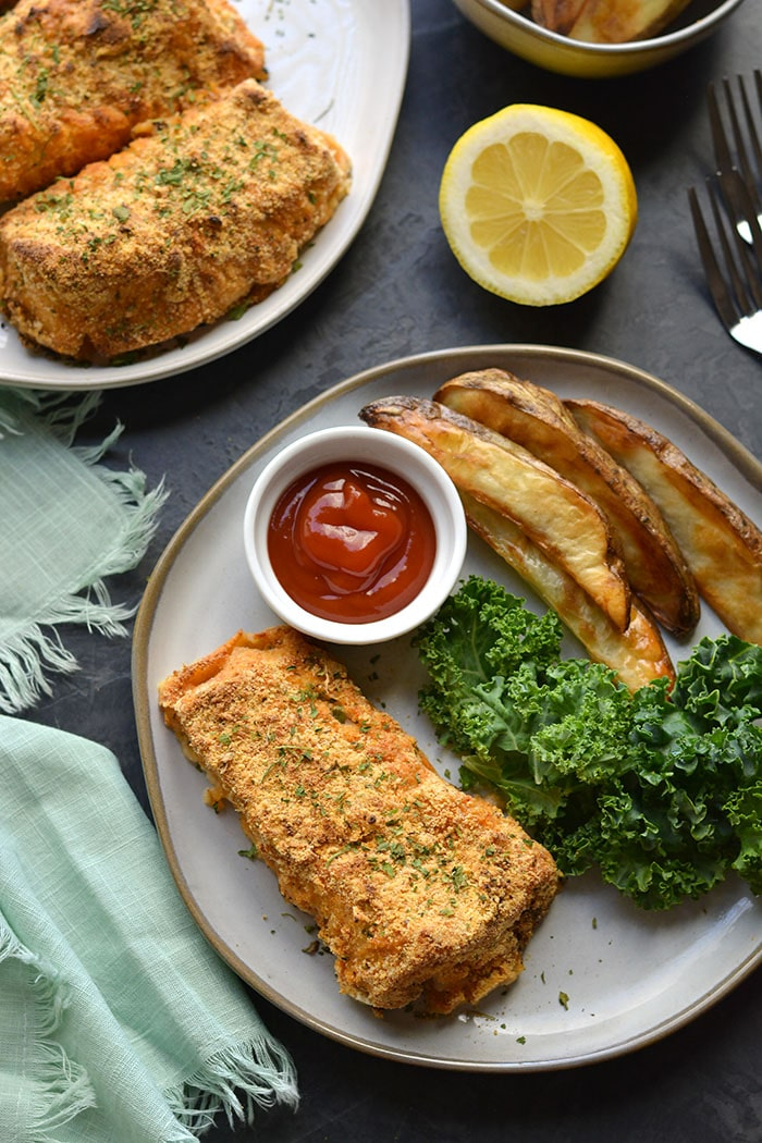 homemade fish and chips on a plate