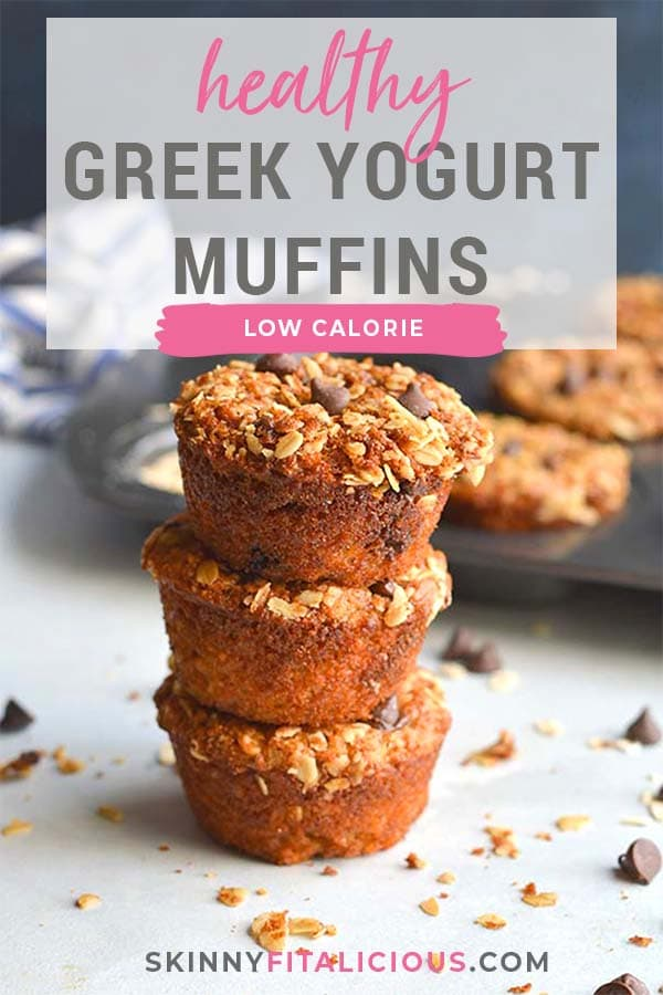 Healthy Greek Yogurt Muffins are low calorie chocolate chip muffins made with gluten free oats. Topped with a cinnamon streusel, they are a perfectly portioned snack!