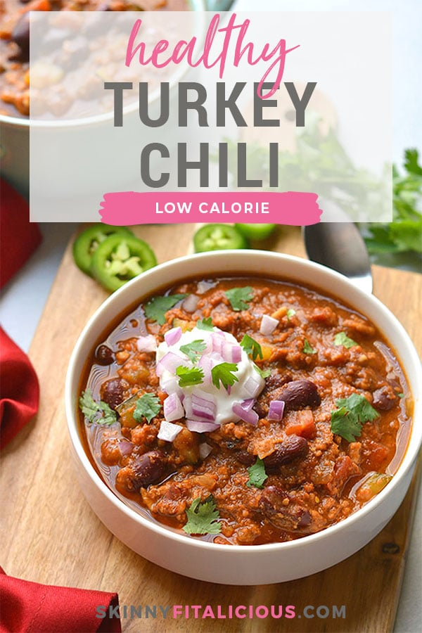 Healthy Crockpot Turkey Chili is a low calorie chili recipe made lower in fat with tons of flavor. Easy to make thanks to the slow cooker! Low Calorie + Gluten Free