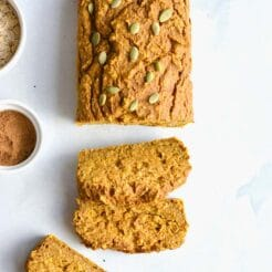 Healthy Pumpkin Oat Bread made flourless with gluten free oats and lightly sweetened. A naturally low calorie, low fat, low sugar snack. Low Calorie + Gluten Free