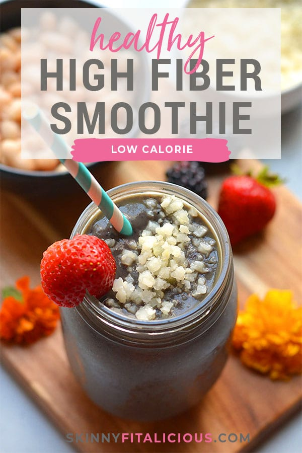 High Fiber Protein Smoothie! This weight loss smoothie recipe has the right balance of ingredient for fat loss. Great for breakfast or a meal replacement! Low Calorie + Gluten Free + Paleo + Vegan