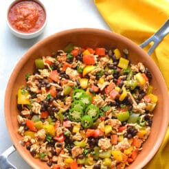 Healthy Turkey Skillet Burrito is a low calorie dinner recipe that is high protein and high fiber. The perfect weight loss meal! Gluten Free + Low Calorie