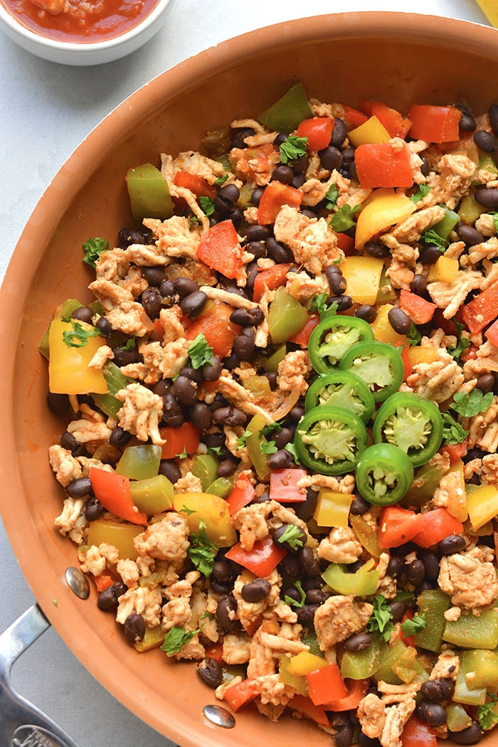 Healthy Turkey Skillet Burrito is a low calorie dinner recipe that is high protein and high fiber. The perfect weight loss meal!
