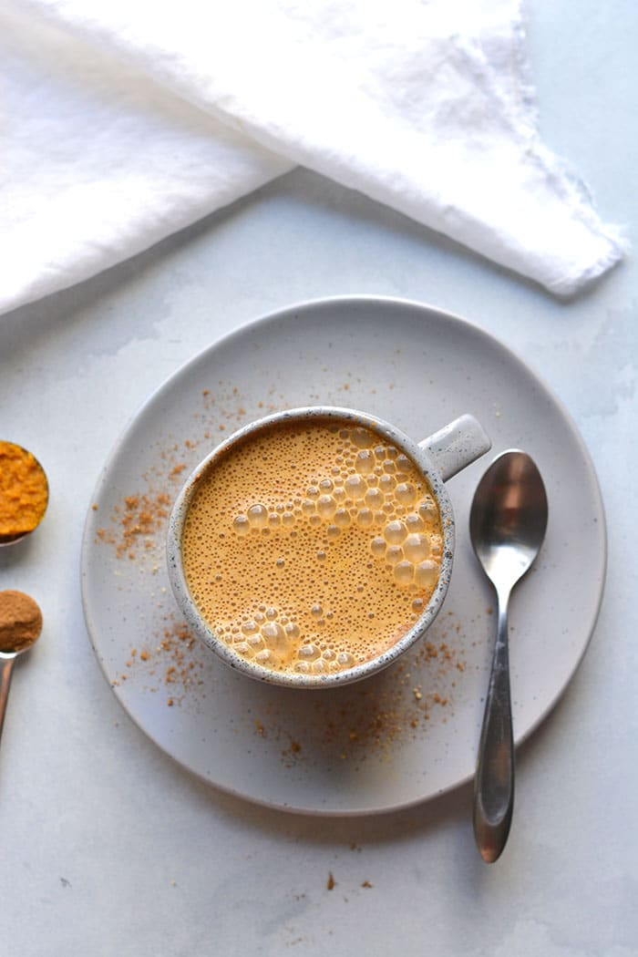 This Healthy Low Calorie Pumpkin Spice Latte recipe is made with less sugar, fewer calories and real pumpkin in under 2 minutes in a blender!